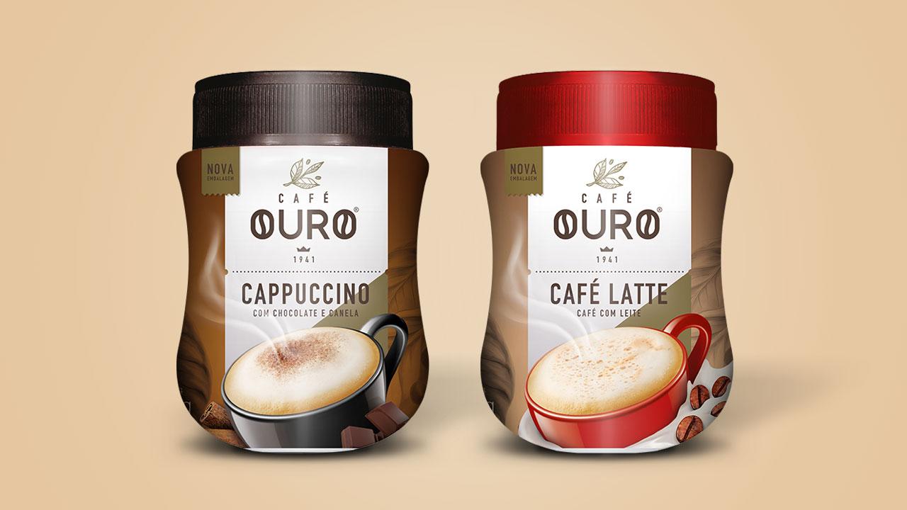 Embalagem Cappuccino e Café Latte  CAFÉ OURO